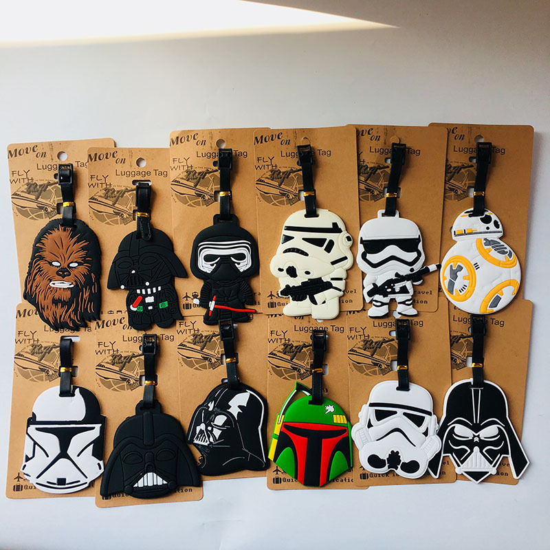 Star Wars Black Knight PVC Keychain Wookiees Storm Trooper Personalized Soft Rubber Luggage Tag Boarding Pass Bag Tags Hanging