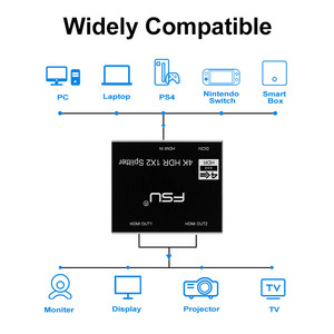 Image 5 - FSU 2.0 HDR 4K@60 HDMI Splitter Full HD Video HDMI Switch Switcher 1X2 Split 1 in 2 Out Amplifier Dual Display For HDTV DVD PS3