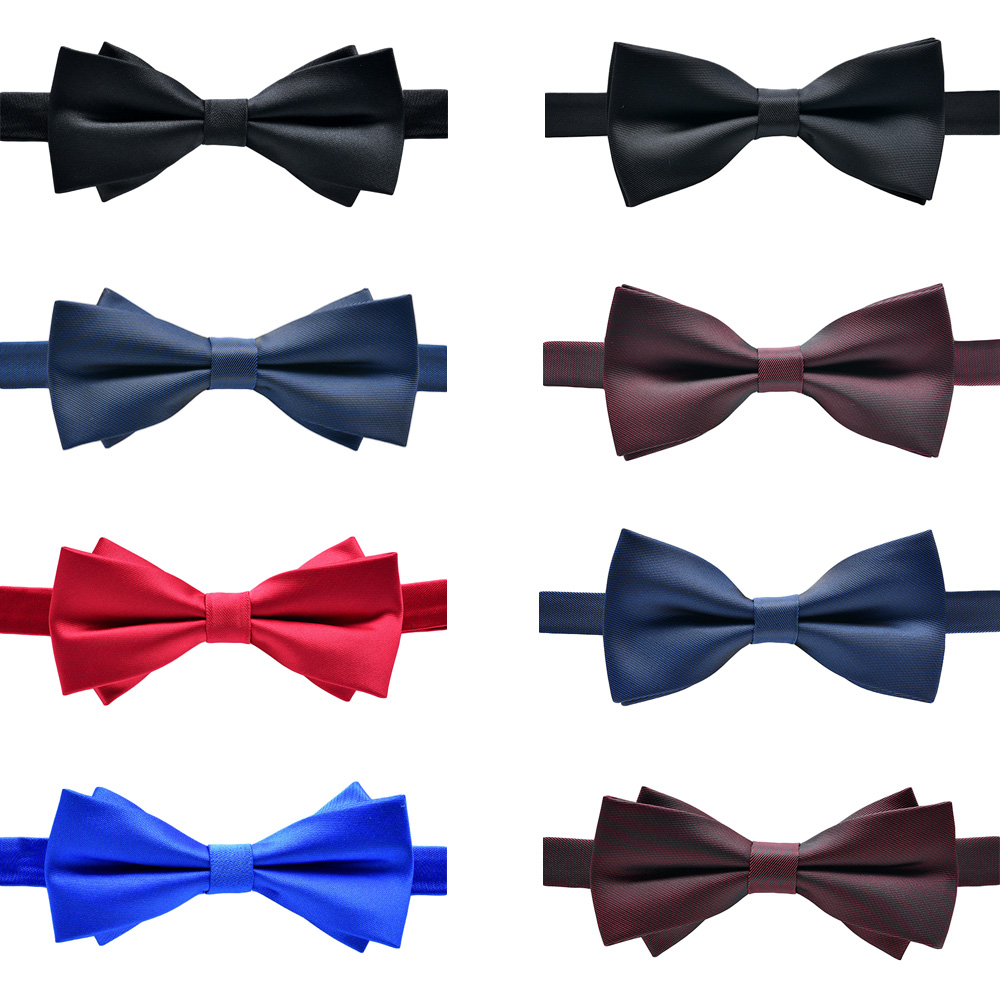 Men Stylish Solid Color Diamond Tip Bow Ties Double Layer Pre-tied Stripe Bowtie