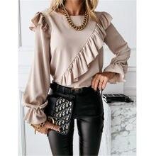 De manga larga de las mujeres elegantes Blusas 2021 dama trabajo de oficina volantes camisetas de cuello redondo Tops primavera otoño Jersey de invierno Camisas Blusas