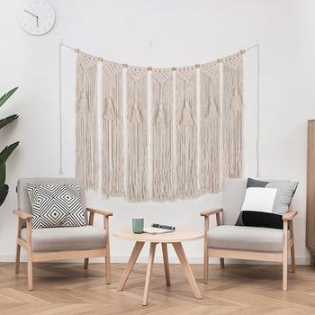 Decoración de fondo de sala de estar con borlas, tapiz de macramé...