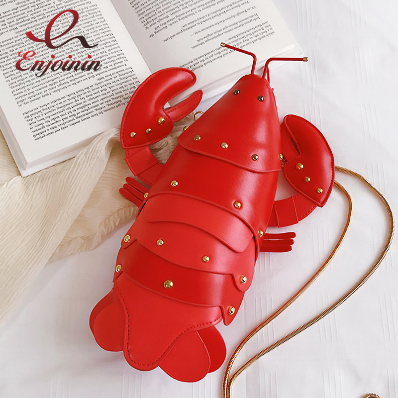 Fun Cute Fashion Lobster Style Pu Leather Girl's Chain Purse Handbag Crossbody Mini Bag Women Shoulder Bag Totes Clutch Bag Flap