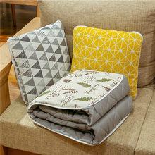 Almofada de linho cobertor 2-em-1 escritório nap ar condicionado cobertor dos desenhos animados carro dobrável cobertor decoração de casa fácil loja