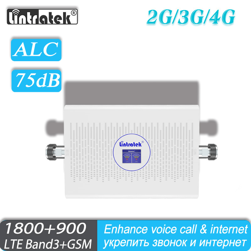 Signal Amplifier ALC 2G 4G Repeater Lintratek LTE 1800MHz 900MHz Band3 GSM DCS 2G 3G 4G Signal Booster For Mobile Phone