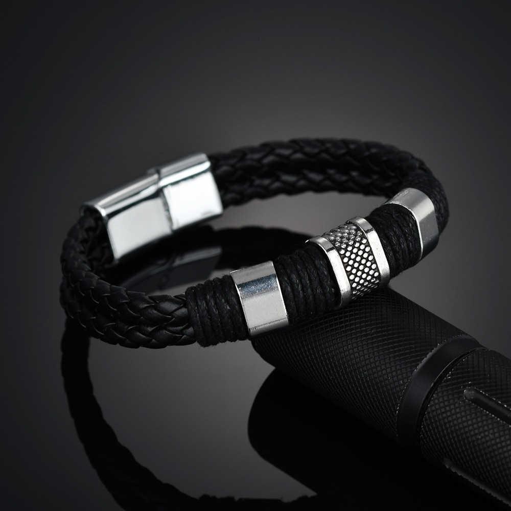 Pulseira de couro trançado multicamadas homens aço inoxidável fecho magnético na moda pulseira de tecido braçadeira pulsera hombre