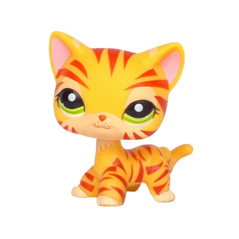 Rare Pet Shop Lps Toys Cat #886 Little Short Hair Standing Cream Stripe Kitty With Blue Diamond Eyes Original Free Shipping