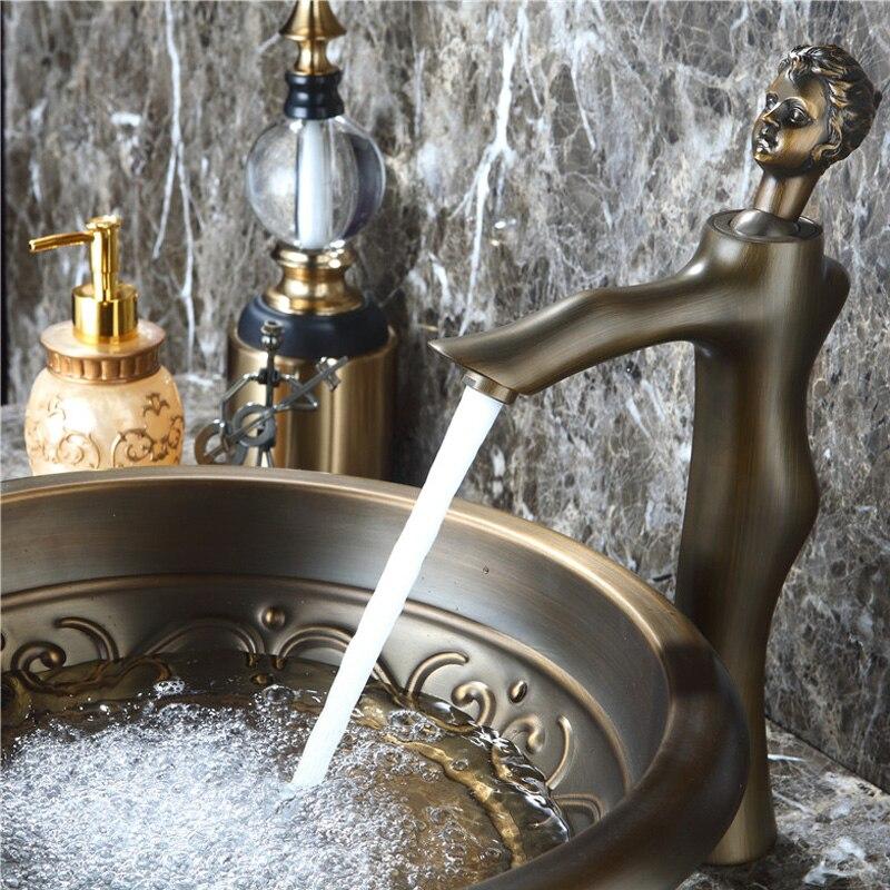 Robinet de bassin d'art de beauté européenne moderne cuivre chaud et froid tout le robinet de lavabo de bassin de salle de bains - 6