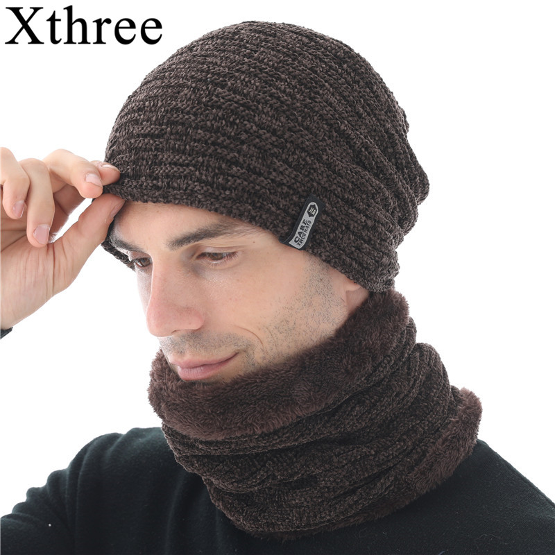 Xthree Chenille Men Beanies Skullies Hat Winter Knitted Hat Scarf With Lining Male Gorras Bonnet Winter Hats For Men Beanie