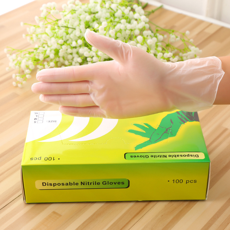 Anti Vurse Disposable Nitrile Gloves 100pcs/box Transparent Gloves Durable Protective Virus Medical Gloves