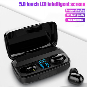Image 1 - T16 TWS auricolari Wireless auricolari Bluetooth Touch Control cuffie Wireless con Display a LED Sport vivavoce auricolare per Xiaomi