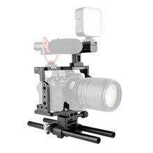 Andoer C15 Camera Cage + Top Handle + 15mm Rod Baseplate Kit Aluminum Alloy with Cold Shoe Mount for Nikon Z6/Z7 DSLR Camera