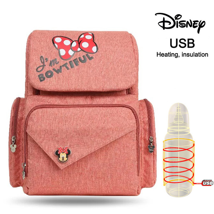 Disney Diaper Bag Backpack USB Bottle Insulation Bags Minnie Mickey Big Capacity Travel Oxford Feeding Baby Nappy Backpack