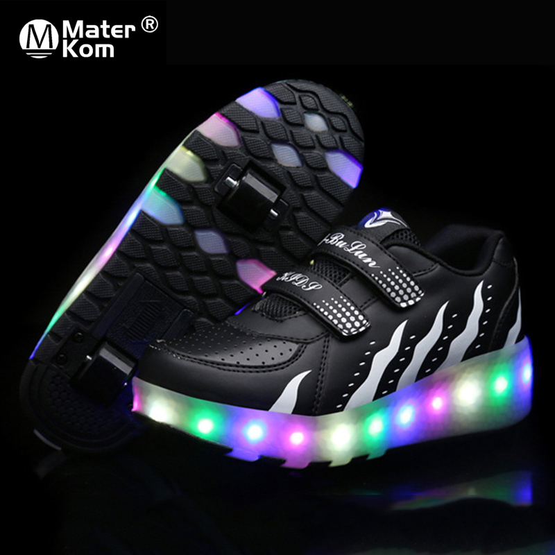 Size 28-43 LED Lighted Skate Shoes For Children Double Wheels Luminous Sneakers With Roller Kids Boys Girls LED Sneakers Large
