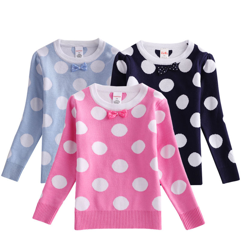 Childrenswear 2019 Autumn Clothing New Children Dotted Pullover Sweater Female Baby Western Style Double Layer Sweater A Generat