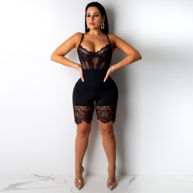 Women Sexy Sleeveless Bodycon Strap Lace Romper Clubwear Backless Bodysuit Short Pants Black Brown Solid Jumpsuit Club Clothing