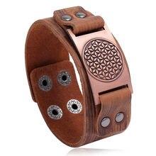 Мужской браслет talisman из натуральной кожи с компасом и деревом