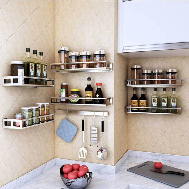 304 Stainless Steel Wall Mounted Spice Jar Rack Seasoning Organizer Shelf Kitchen Storage Container Accessories Tools Container