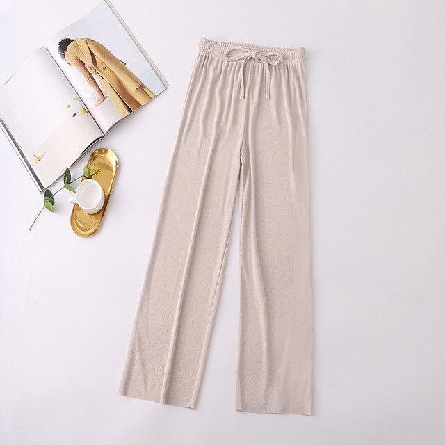 2021 New Women's Loose Summer Pants Soft Ice Silk Ankle-Length Wide Leg Pants Grey Khaki Women High Waisted long Trousers 5