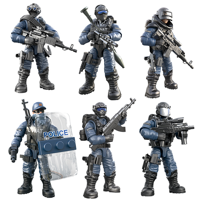 Набор строительных блоков, мини-спецназ «call of military duty», фигурки солдатиков, оружие, модели кукол