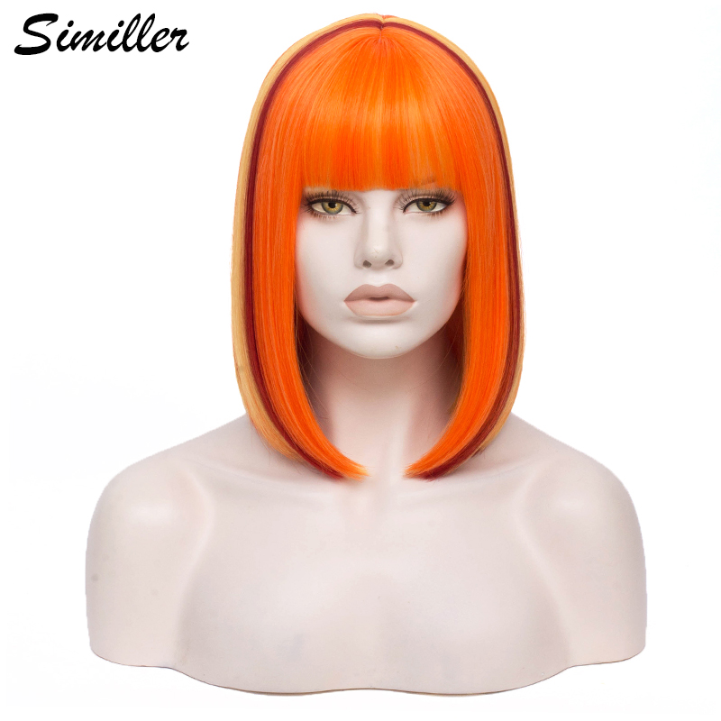 Similer Women Bob Synthetic Wigs Short Straight Hair Orange Wig for Cosplay Ombre Colors High Temperature Fiber