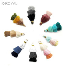 X-ROYAL 20Pcs/lot New Bohemian Style 3 Layered Pyramid Tassels Multi Color Earring Charms Women DIY Findings 40mm Ethnic