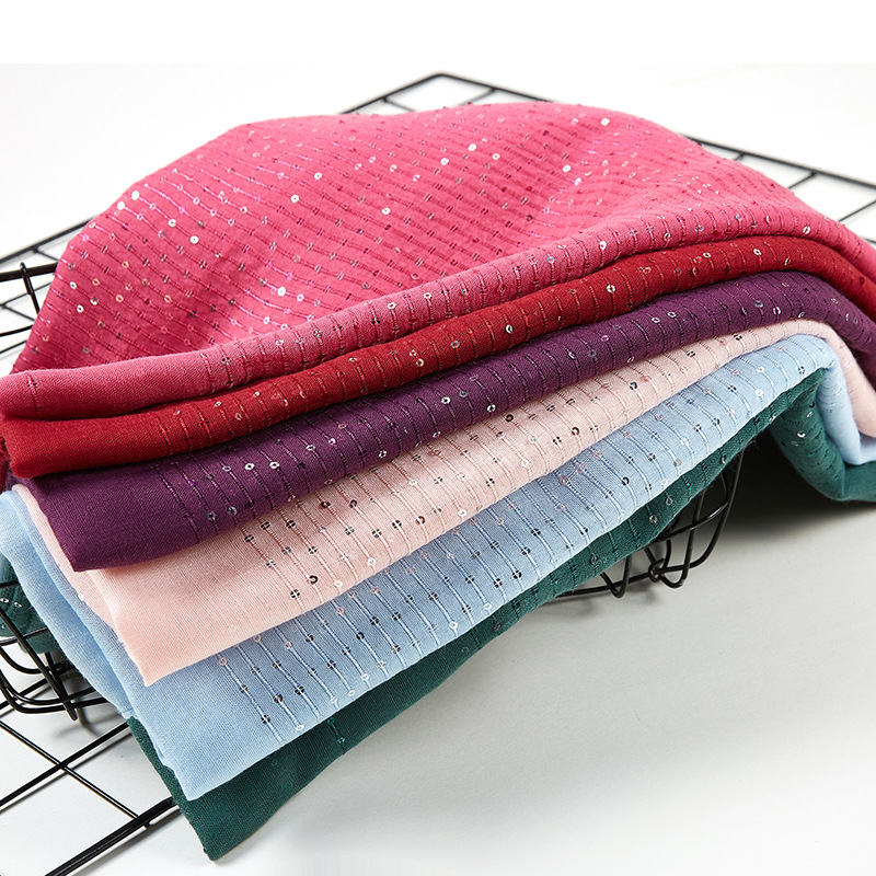 Glitter Stripe Sequins Viscose Cotton Scarf Women Wraps Plain Muslim Hijab Headband Fringe Headscarf Islam Long Shawl 70x180cm
