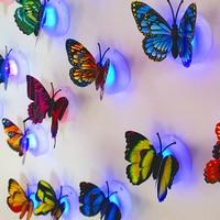 Pegatina de pared LED de mariposa colorida cambiante, creativa y luminosa, lámpara para decoración de fiesta en casa, fiesta de boda, regalos para niños, 5/10 Uds.