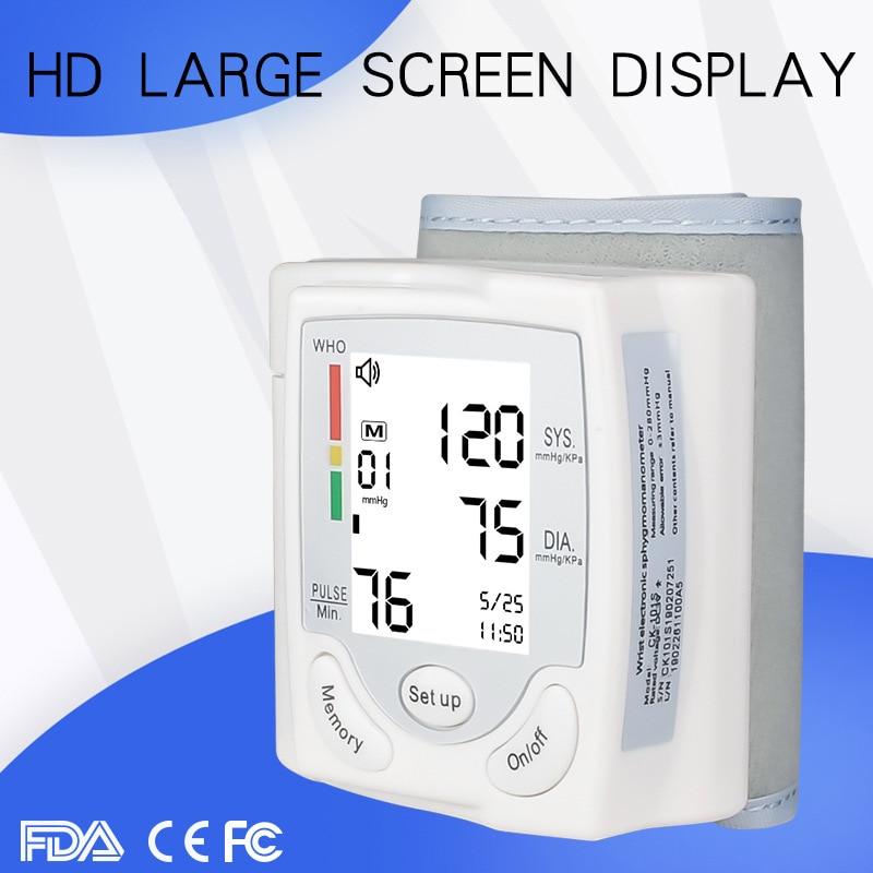 Professional Automatische Digital-Arm Blutdruck Monitor Große Hintergrundbeleuchtung LCD Display Reden Pulse Rate 22-42cm BP Manschette maschine