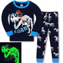Пижамные комплекты с динозавром для мальчиков и девочек одежда