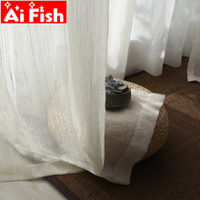 Nordic Cotton and Linen Curtain Tulle Drapes Japanese Style Fresh Stripe Gorgeous Bedroom Sheer Decorative Balcony Yarn M170#5