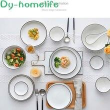 Набор керамической посуды в скандинавском стиле белый и черный