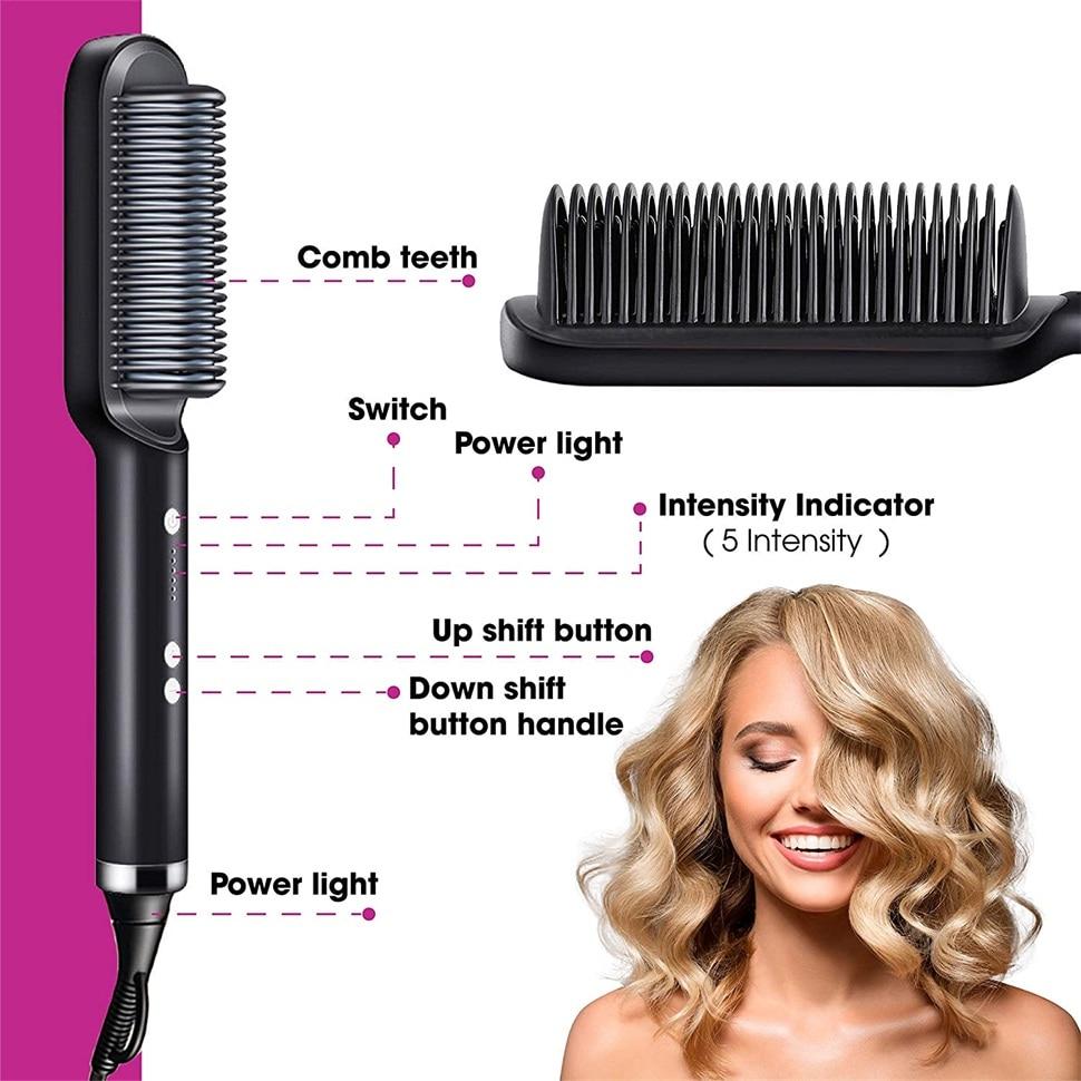 Профессиональный Выпрямитель для волос, керамическая плойка с турмалином, расческа для волос, утюжок для завивки волос, инструмент для укладки 2