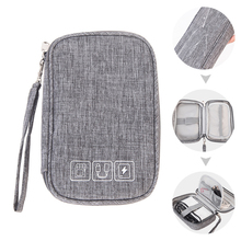 Multi-function Data Cable Charger Organizer Bag Charging Treasure Headphone Electronic Double Layer Finishing Accessories 05
