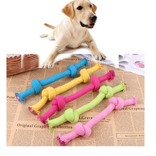 New Knitted Cotton Pet Dog Molar Toy Double Knot Bite Rope Weave Healthy Tooth Cleaning for Teddy Bomei Puppy