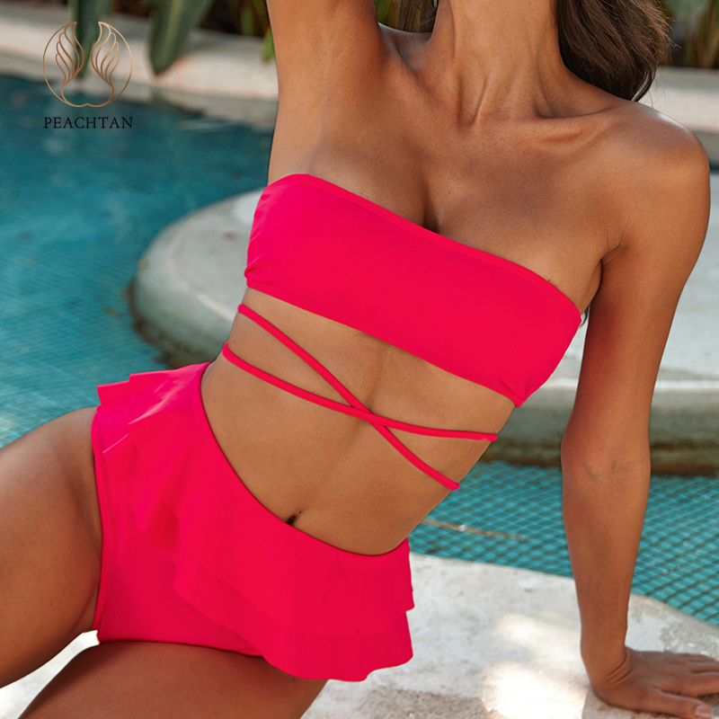 Peachtan Sexy Bandeau Bikini Set 2020 Lace Up Swimwear Women Ruffle Swimsuit Female Solid Bathing Suit High Waist Bathers New
