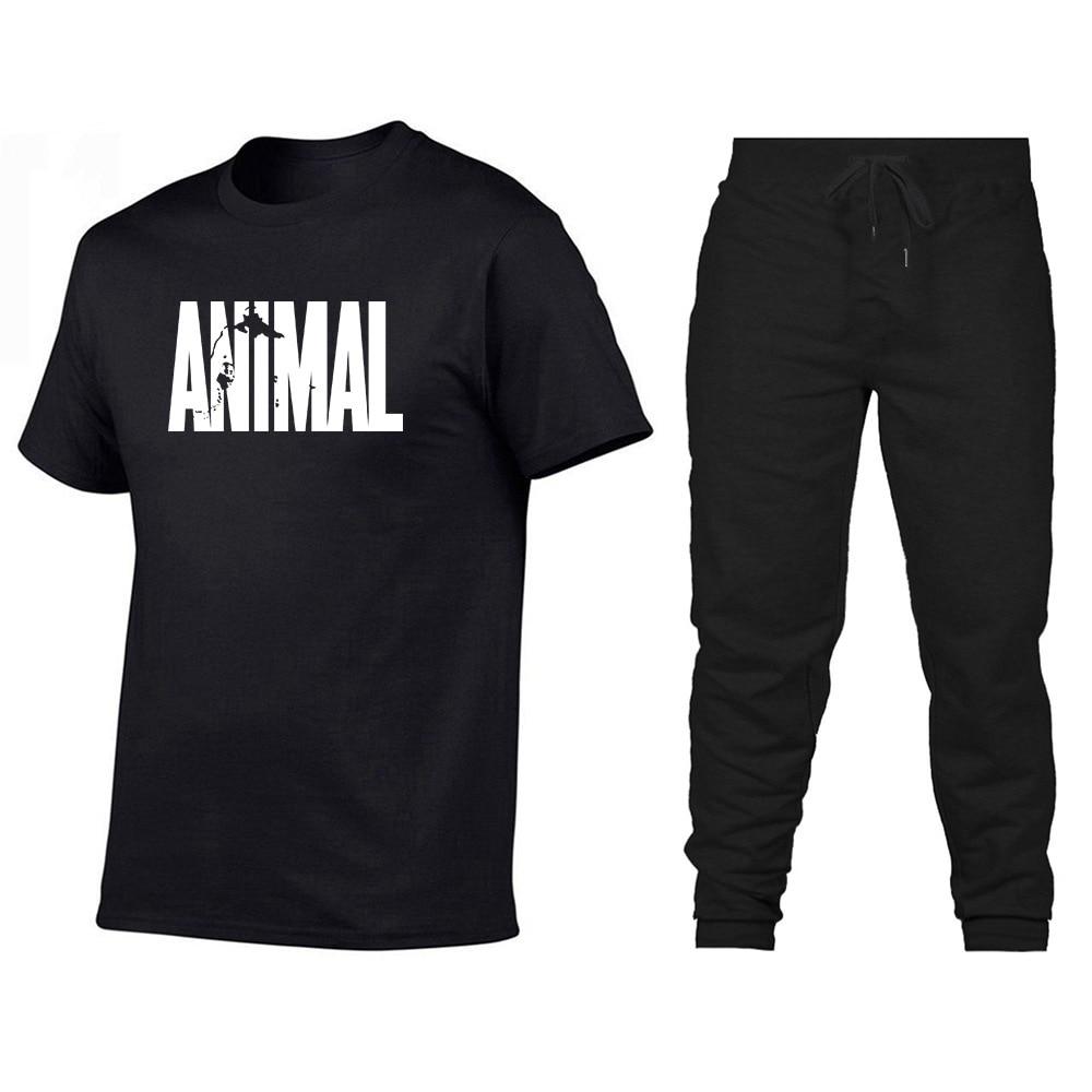 Animal Crew Neck Men Cotton Muscle Fitness Healthy Beauty MEN'S T-shirt Athletic Pants Set Two-Piece Set
