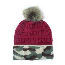 Female Pompom Beanie Winter Knit Hat For Women Crochet Skullies Warm Camouflage Ski Cap saf lady s warm knit braided cap baggy beanie crochet hat gray