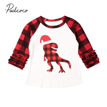 Коллекция года, весенне-осенняя одежда для малышей хлопковая одежда для маленьких мальчиков и девочек клетчатая футболка с длинным рукавом и изображением Санта-динозавра, топы, футболки, От 1 до 5 лет