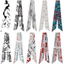 Разнообразный шелковый шарф с принтом в виде букв ручка для