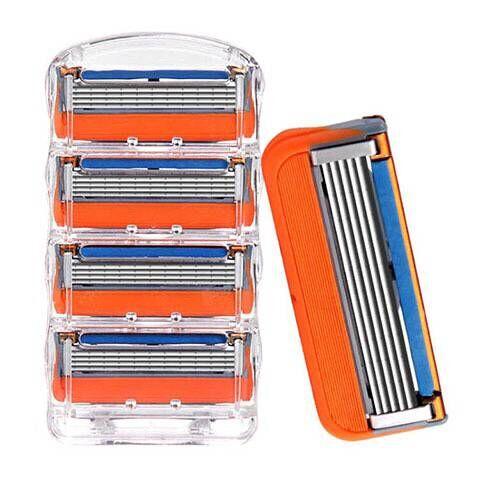 4 шт./лот бритвенные лезвия для мужчин, уход за лицом, кассета для бритья с 5 + 1 слоями, Безопасные лезвия из нержавеющей стали, подходит для ...