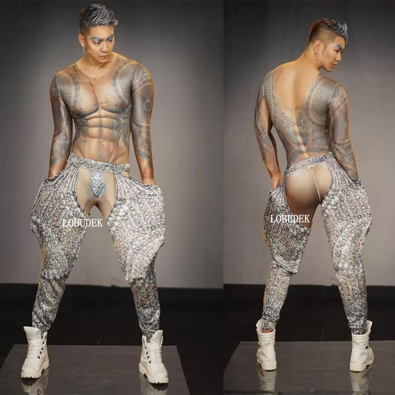 Sexy Bar Club Men Pole Dance Costume Muscle Man Tattoo 3D Print Jumpsuit Stretch Skinny Tights Acrobatics Performance Jumpsuits