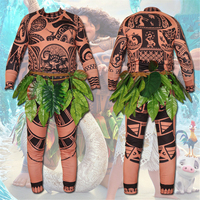 Halloween Princess Moana Maui Tattoo Jumpsuit Bodysuit Zentai with Leaves Family Matching Costume Cosplay for Adults Kids Mens