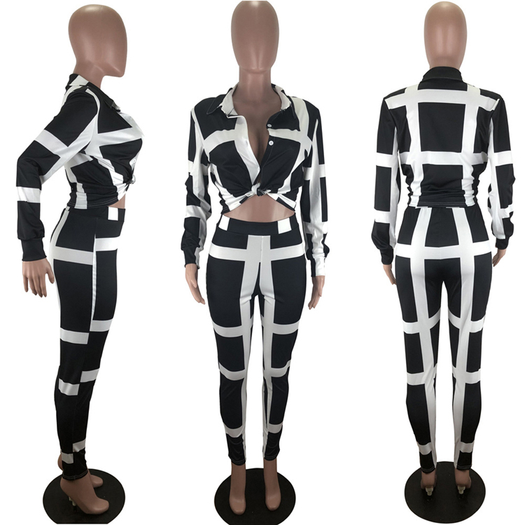 clothing vendor 9081429 new design long sleeve shirt blouse leisure striped autumn pencil pants women clothing two piece set