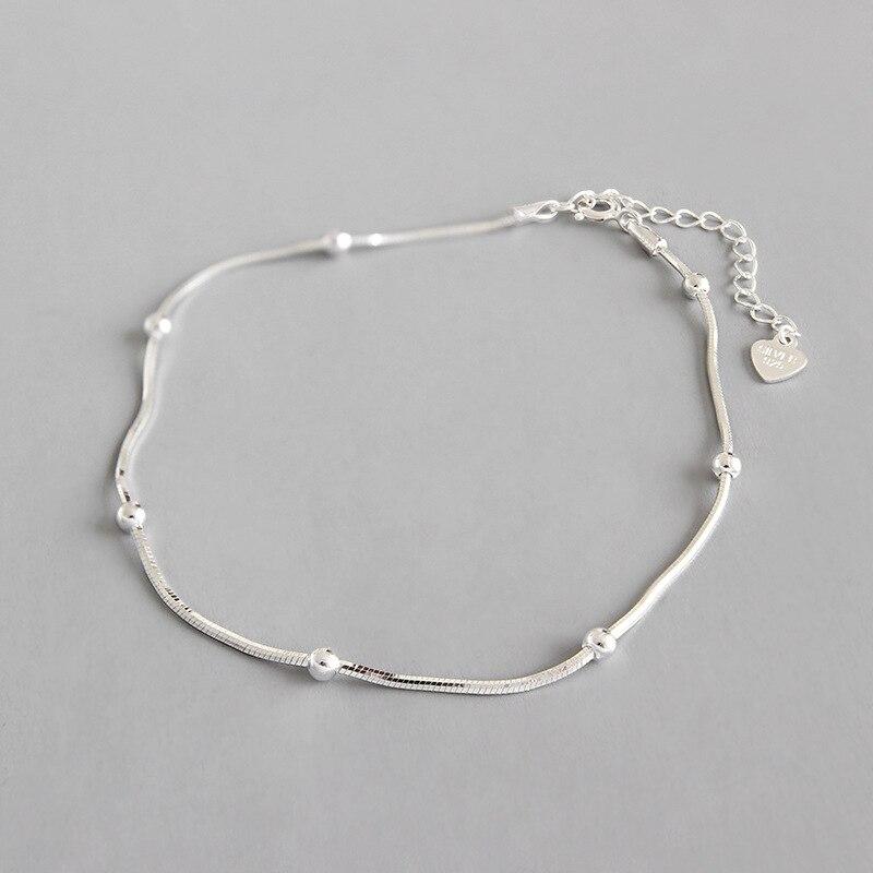 Real 925 sterling silver female ankle bracelet snake leg chain, minimalist beads anklets for women enkelbandje foot jewelry