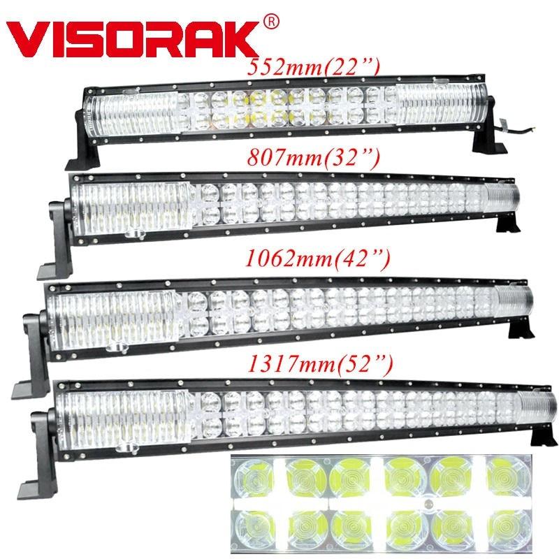 """VISORAK 22 32 42 52"""" Offroad Curved LED Work Light Bar 4x4 SUV ATV UTV Truck LED Bar For Offroad 4WD 4x4 SUV ATV Truck Tractor"""