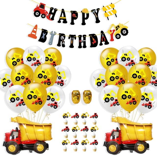 Koparka budowlana pojazd lateksowy balon dmuchany Globos Banner ozdoba na wierzch tortu na urodziny dekoracja na imprezy tematyczne dla dzieci dobrodziejstw