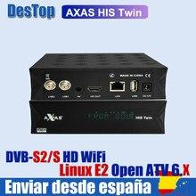 Axas seu gêmeo DVB-S2/s hd 2x DVB-S2 sat sintonizador enigma 2 receptor de tv por satélite wi-fi + linux e2 openatv imagem h.265 caixa de tv