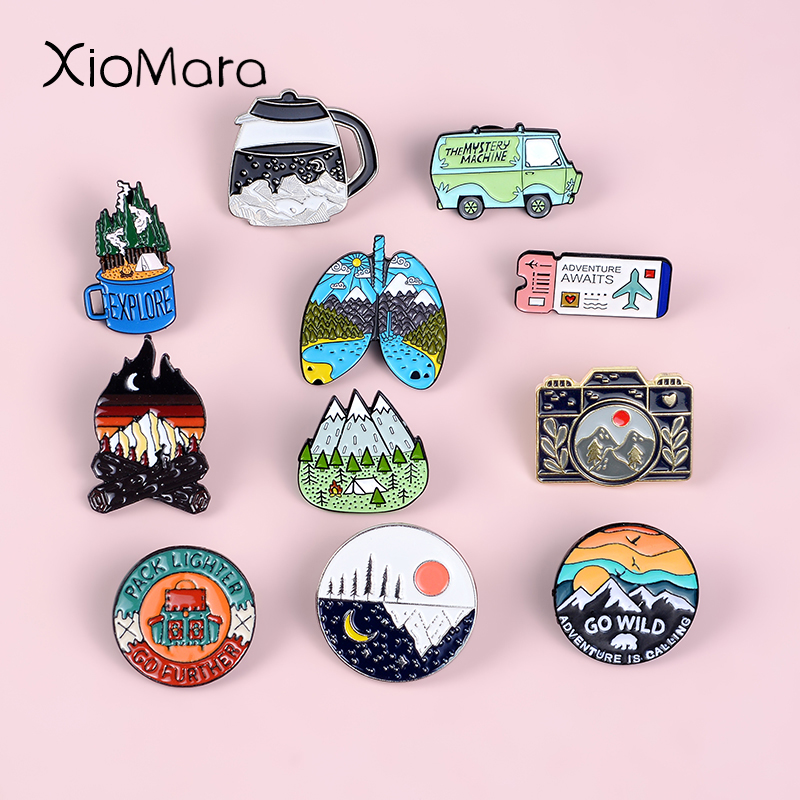 Go Travel ! Adventure Pin Mountain Forest Lakes Earth Explore Nature Bus Enamel Pin Button Badge Brooch Women Men Outdoorsy Gift