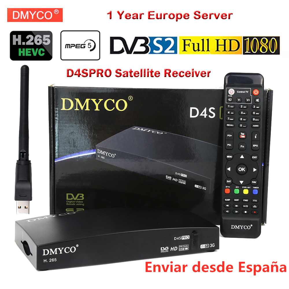 DVB-S2 Satellite Receiver Add 1 Year Europe 7 Cable Server HD 1080P New Version H.265 MPEG-5 Bisskey LNB Digital TV Receptor