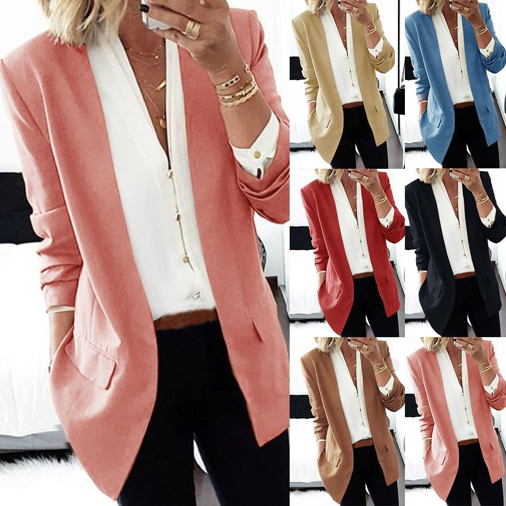 Women Cardigan Suits Jackets Casual Blazer Ladies Solid Formal Blazers Coat Suit Bleiser Feminino